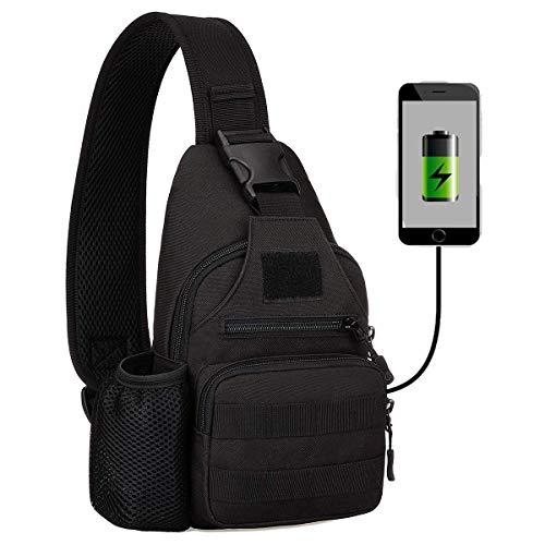 Huntvp® Zaino Monospalla Uomo Tattico Borsa Petto Impermeabile Borsa a Tracolla Militare con USB Ricaricabile Porta Bottiglia,Typ-3 Nero