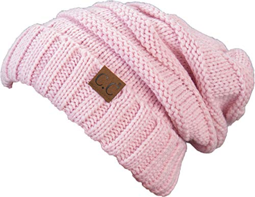 H-6100-29 Oversized Slouchy Beanie - Pale Pink