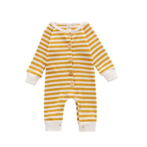Mameluco de una pieza para recién nacido, unisex, con botones, de algodón, para el cuidado de la piel, ropa de dormir, ropa de dormir de 3 a 24 m