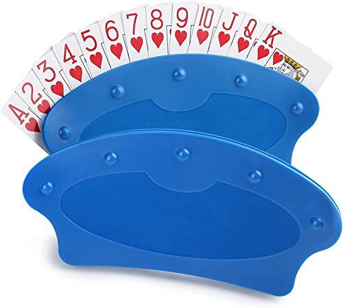 LotFancy 2 Pezzi Supporto di Carte da Gioco Holder Poker Porta Carte di Plastica a Mani Libere per Porta Poker Colore Azzurro Confezioni da Scelta