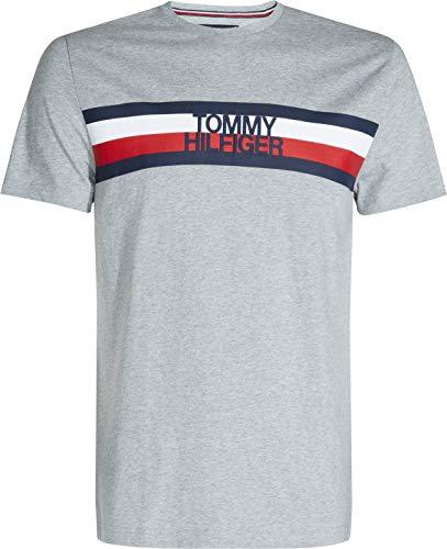 Tommy Hilfiger Tommy Logo tee Camiseta, Gris (Cloud Htr 501), Large para Hombre