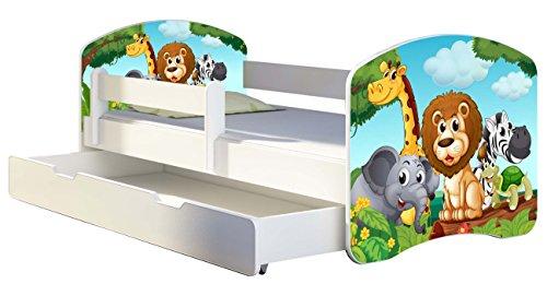 Kinderbett Jugendbett mit einer Schublade und Matratze Weiß ACMA II 140 160 180 40 Design (180x80 cm + Bettkasten, 02 Animals)