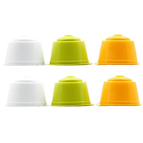 RECAPS Cápsulas de café recargables y reutilizables compatibles con Dolce Gusto Brewers, paquete de 6 (amarillo, verde, blanco)