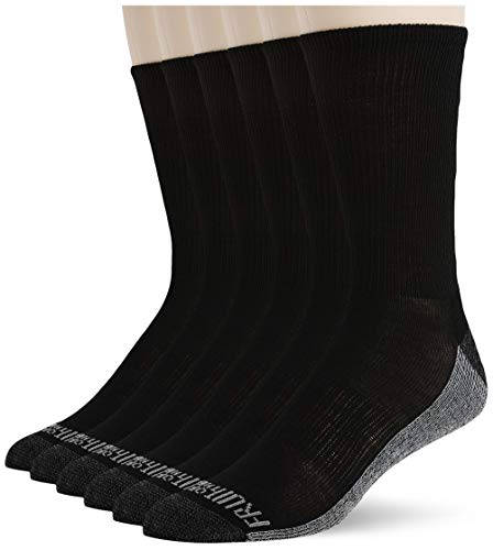 Fruit of the Loom Men s Essential 6 Pack Casual Crew Socks | Arch Support | Black & White, Black, Shoe Size: 6-12