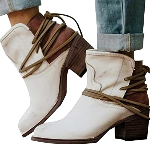 Western Ankle Boots for Women Cowboy Cowgirl Lace Up Booties Retro Fashion Chunky Heel Riding Bootie Shoes White