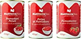 MediterraNeo - Tomates en lata de 400 g cada una (paquete de 6: 2 de tomates enteros pelados, 2 de tomates troceados y 2 de tomates cherry)