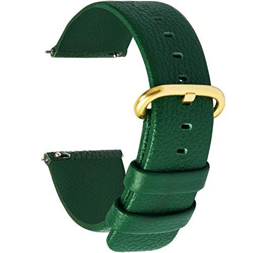 Fullmosa 12 Colori per Cinturini di Ricambio, Uli Pelle Cinturino/Cinturini/Braccialetto/Band/Strap di Ricambio/Sostituzione per Watch/Orologio 18mm 20mm 22mm 24mm, O-Verde Scuro 24mm