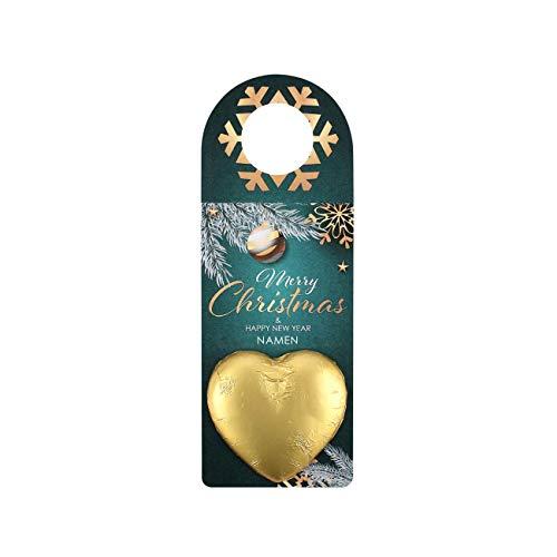 Herz & Heim® Flaschenanhänger zu Weihnachten mit Schokoladenherz und Wunschnamen Groß