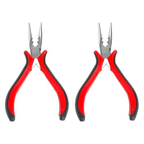 Huayue 2Pcs Herramientas para Extensiones de Cabello, Alicates de Extracción Alicate de 3 Agujeros Alicate de Extensión de Pelo Alicate para Micro Perlas (Rojo)