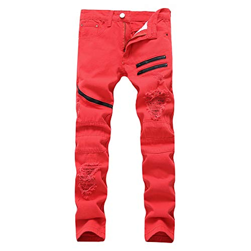 Men's Ripped Straight Holes Hip Hop Biker Stretchy Slim Fashion Jeans(Red,32)
