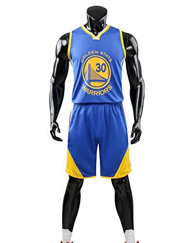 HS-XP Chicas para Niños Hombres Adultos De Baloncesto Set - Golden State Warriors # 30 Stephen Curry NBA Baloncesto Entrenamiento Sin Mangas Y Pantalones Cortos De Verano,Azul,XL(Child) 145~155CM
