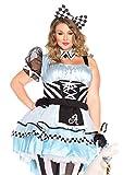 Leg Avenue Plus Size Women's Psychedelic Alice in Wonderland Costume, Blue/black, 1X / 2X
