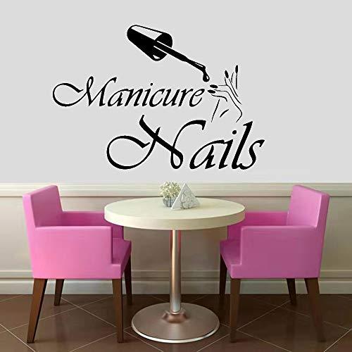 wZUN Moda Vinilo Pared calcomanía salón de uñas diseño Etiqueta de la Pared salón de Belleza decoración manicura Pegatina 36X52cm
