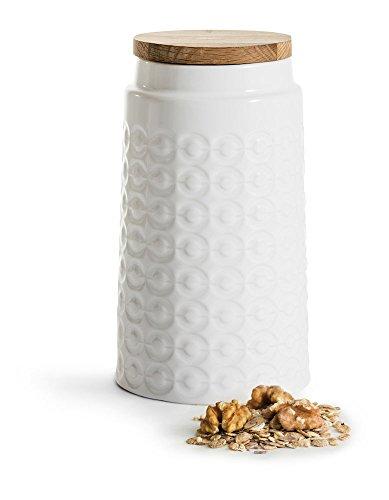 Sagaform Boîte de Rangement avec Couvercle, Pierre, Blanc/Marron, 11 x 11 x 19 cm