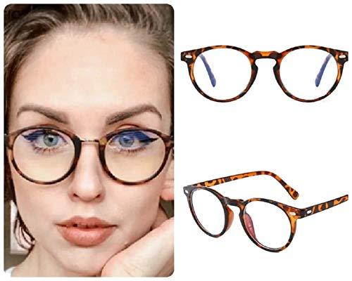 Gafas redondas Leapord Bluelight para mujeres y niñas, gafas de moda para lectura de computadora, juegos