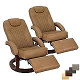 RecPro Nash 28' RV Euro Chair Recliner | Modern Design | RV Furniture | Swivel Base | Recliner Chair (2 Chairs, Toffee)