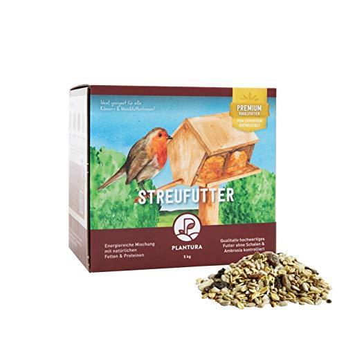Plantura Streufutter für Wildvögel mit hochwertigen Fetten, ohne Schalen, Fettfutter für den Winter, 5 kg
