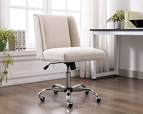 Kmax Home Office Desk Chair, Armless Modern Task Chair for Small Space, Cream