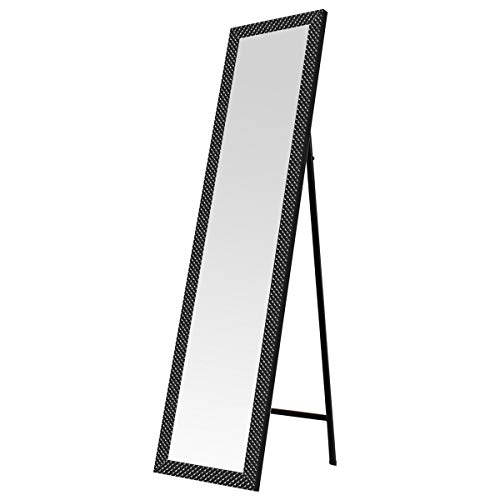Espejo de pie nórdico de plástico de 37x157 (Negro Textura)