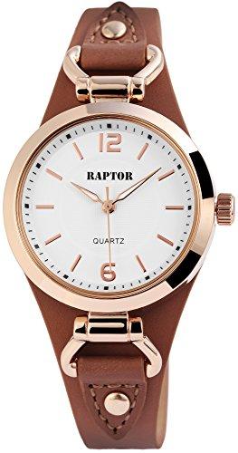 Raptor Classics Damen-Uhr Unterlegband Oberseite Echt Leder Analog Quarz RA10148