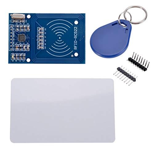 JIUY Tarjeta RC522 1PCS Leer Antena RF RFID IC Card Lector de proximidad Módulo MFRC-522 + Llave Mini Tablero de Alto Rendimiento (Azul)