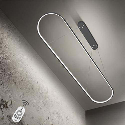 Esszimmer-Lampe Modern LED Pendelleuchte Dimmbar Ring Design Esstischlampe Höhenverstellbar Kronleuchter Wohnzimmerlampe Hängelampe mit Fernbedienung, für Esstisch Bürogebäude Küche Pendellampe (90CM)