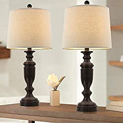 【RUSTIC & CLASSIC DESIGN】A traditional combination of resin and linen brings exquisite beauty and elegance to any room. The soft glow of each lamp is complemented by a stylish base and symmetrical silhouette. It is suitable for installation in living...