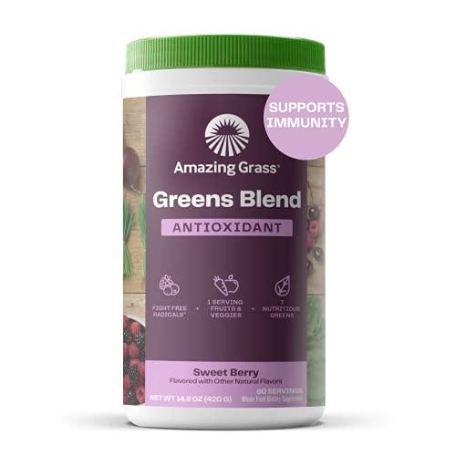 Amazing Grass Greens Blend Antioxidant: Super Greens Powder with Spirulina, Beet Root Powder, Elderberry & Probiotics, Sweet Berry, 60 Servings (Packaging May Vary)