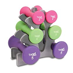Tone Fitness 20 lb Hourglass Shaped Dumbbell Set