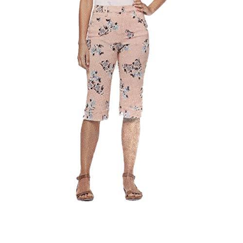 Gloria Vanderbilt Women's Cleo Skimmer Pants with Cuffed Hem (Coral Essence Breezy Blossoms, 10)