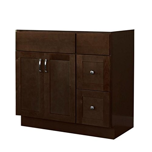 "JSI Amesbury 42"" 2 Door Espresso Single Vanity w/ 2 Right Drawers -Cabinet Only"