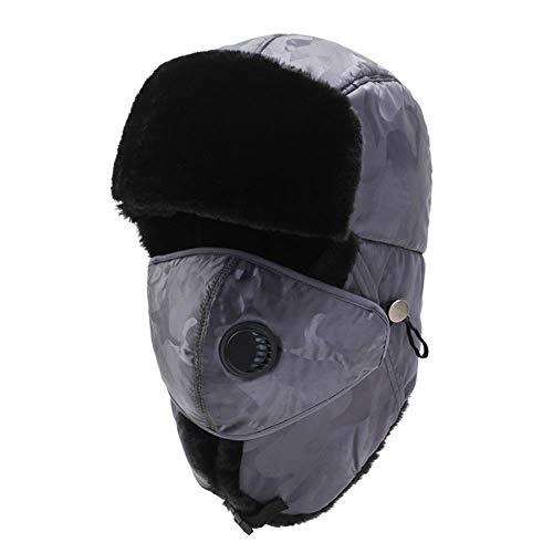 OSL Su Sombrero Feng, aretes de Invierno de Invierno y aretes engrosados en Invierno a Corte al Aire Libre, Ciclismo frío,Gris Claro,codificado