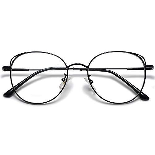 SOJOS Runde Brille Damen Blaulichtfilter Katzenaugen Computer-Gläser Handgemacht Hochwertig SJ5027 mit Schwarz Rahmen/Anti-Blaulicht Linse
