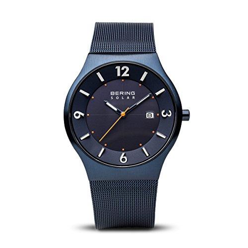 BERING Reloj Analógico para Hombre de Energía Solar con Correa en Acero Inoxidable 14440-393, Azul/Azul
