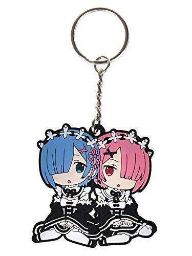 CoolChange Re Zero Schlüsselanhänger mit Rem & Ram Chibi Figuren aus PVC