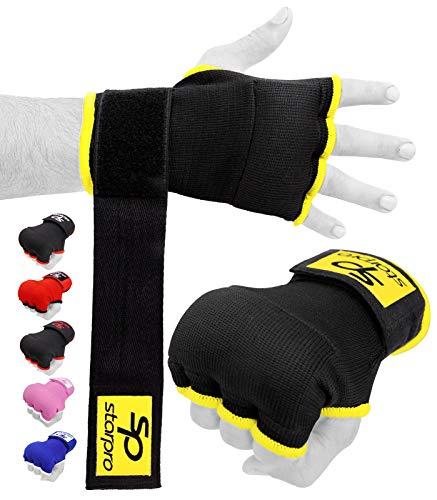 Starpro Bandagen Boxen Elastisch Innenhandschuhe - Am besten für Faust- und Knöchelschutz | Muay Thai MMA halber Finger Bandage Handschuhe Daumenschlaufe Boxbandagen | Schwarz für Männer und Frauen