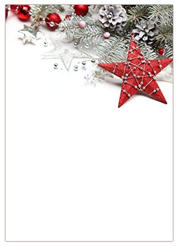 LYSCO Motiv Briefpapier (Weihnachten-5053, DIN A4, 100 Blatt). Einseitig bedrucktes Briefpapier, sehr gut beschreibbar, für alle Drucker/Kopierer geeignet, Motivpapier mit rotem Stern Weihnachtskugeln, Tannenzapfen und Tannenzweigen
