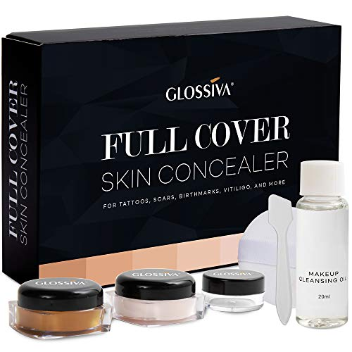 Glossiva Tattoo Concealer - Skin Concealer - Waterproof - For Dark Spots, Scars, Vitiligo, And More - Tattoo Cover-Up Makeup - Use on Body, For Legs, for Men and Women