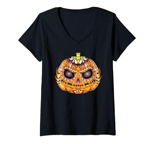Mujer Calavera de azcar de calabaza, crneo de Halloween Camiseta Cuello V