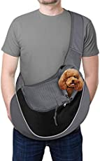YUDODO Pet Dog Sling Carrier Breathable Mesh Travel Safe Sling Bag Carrier for Dogs Cats (L(10-15lbs), Black Reflective)