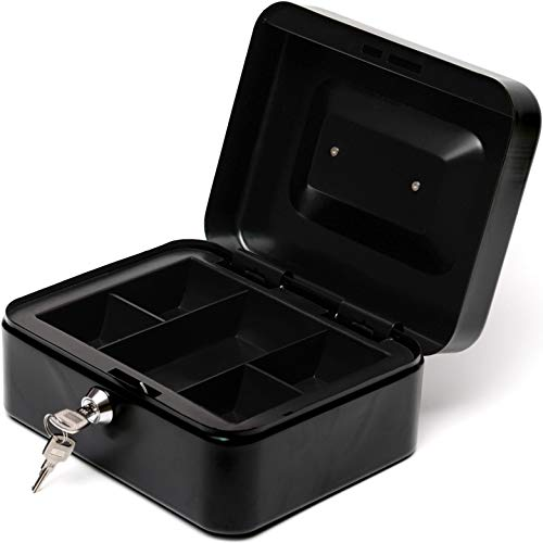 BAYA Lock Box for Cash Money and Coins with Key Lock - Medium | 7.9 x 6.3 x 3.5 Inches | Black | Secure Steel Lockbox for Safe Keeping | Small Petty Storage Case | Includes 2 Keys | NOT Fireproof