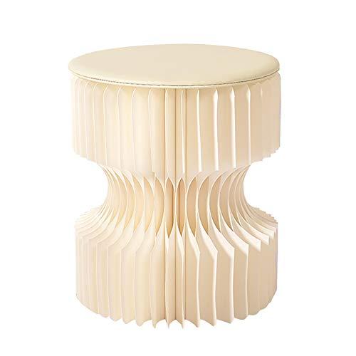 ZHAOYONGLI Tabouret Créatif Simple Rond Tabouret Portable Pliant Coiffeuse Maison Design De Mode Sauvage Créatif Forte Durable Longue durée de vie (Couleur : Blanc, taille : 30 * 28cm)