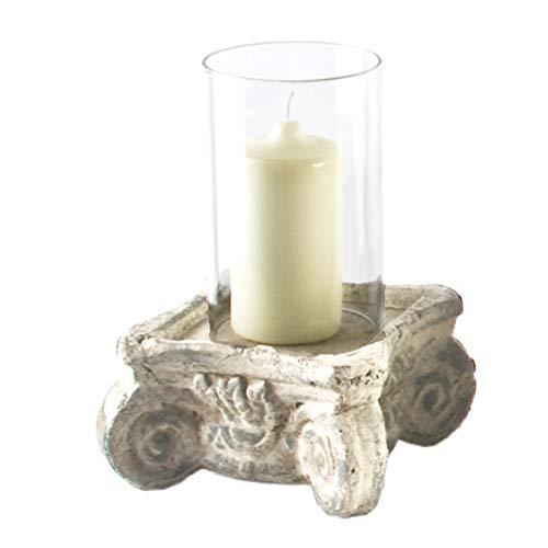 Varia Living Windlicht Mythos mit Glaszylinder | Vintage Design Shabby Chic | Steinoptik | Terracotta Tischdeko | Laterne für innen und im Garten | Dekoration Wohnung (H 25 cm / 16 x 16 cm)