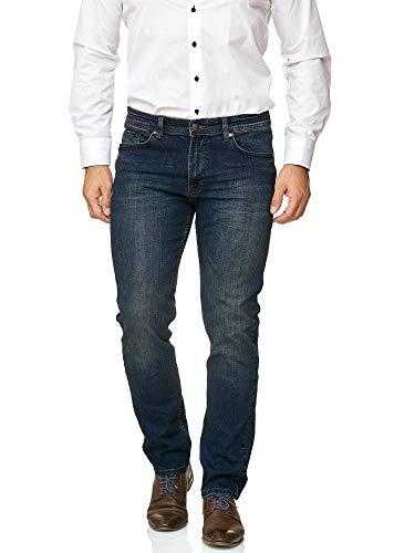 BARBONS Herren Jeans - Bügelleicht - Regular-Fit Stretch - Business Freizeit - Hochwertige Jeans-Hose 01-Navy 36W / 32L