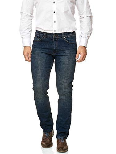BARBONS Herren Jeans - Bügelleicht - Regular-Fit Stretch - Business Freizeit - Hochwertige Jeans-Hose 01-Navy 36W / 34L