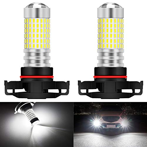 KATUR PSX24W Ampoules LED Anti-Brouillard Max 80W Super Lumineux 3000 lumens 6500K xénon Blanc avec projecteur pour la Conduite de Feux diurnes DRL ou Feux de Brouillard, 12V -24V (Pack de 2)