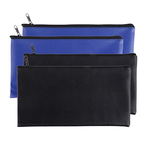 Zipper Bank Bags 4 Pack Money Pouch Bank Deposit Bag PU Leather Cash and Coin Pouch bank envelopes with zipper Mix-Color