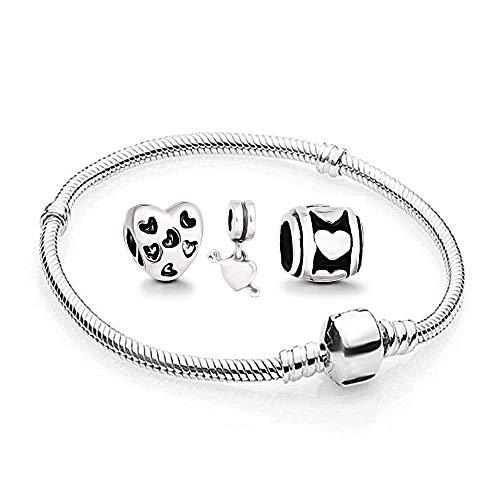 Herz Charms Beads 1 Armband und 3 Anhänger Starter Set Angebot Zirkonia Murano Glas bettel Pandora Style Bead kompatibel 17cm