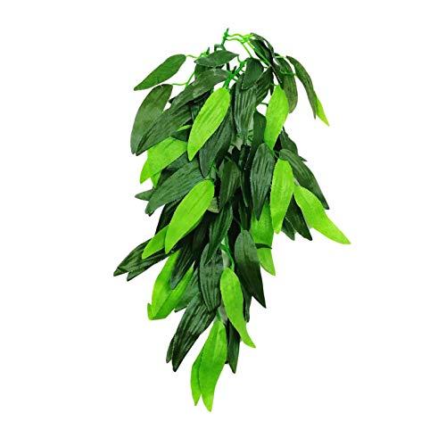 Seiden-Hängepflanze, Reptilienpflanzen, hängende Seiden-Terrarium-Pflanze mit Saugnapf für Bartagamen, Eidechsen, Geckos, Schlangen, Haustiere, Aquarium, Lebensraum, Dekorationen für Reptilien