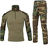 Czen Hombres Militar Camisa táctica y pantalones Ejército Camo Caza Airsoft Paintball BDU Combat Uniforme Dry Quick Survival Tactical Gear (cp jungla, L)